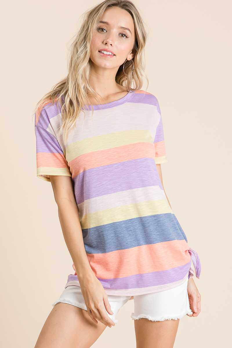 MULTI STRIPE PRINT TUNIC TOP