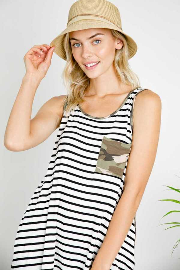 STRIPE AND CAMOUFLAGE PRINT POCKET TANK TOP