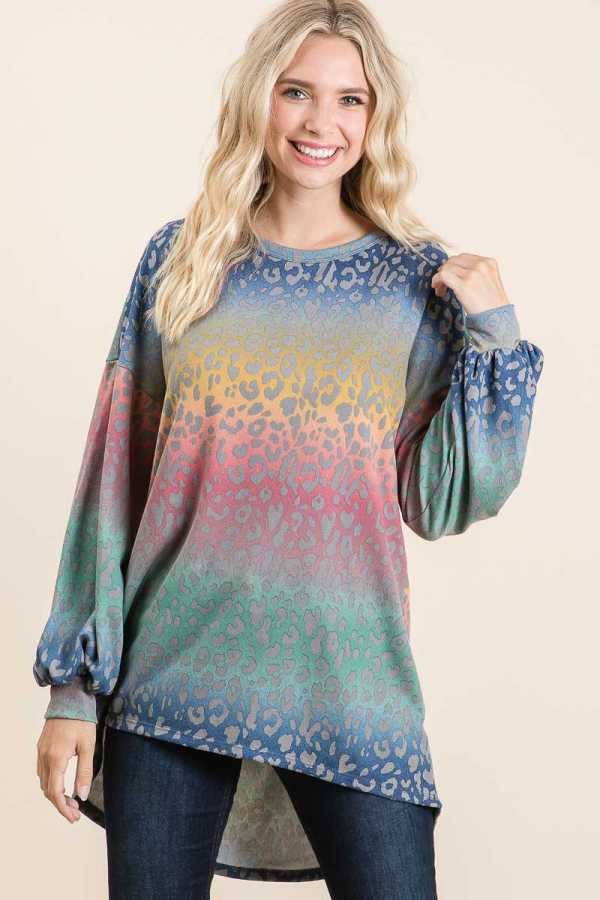ANIMAL PRINT MULTI COLOR DETAIL TUNIC TOP