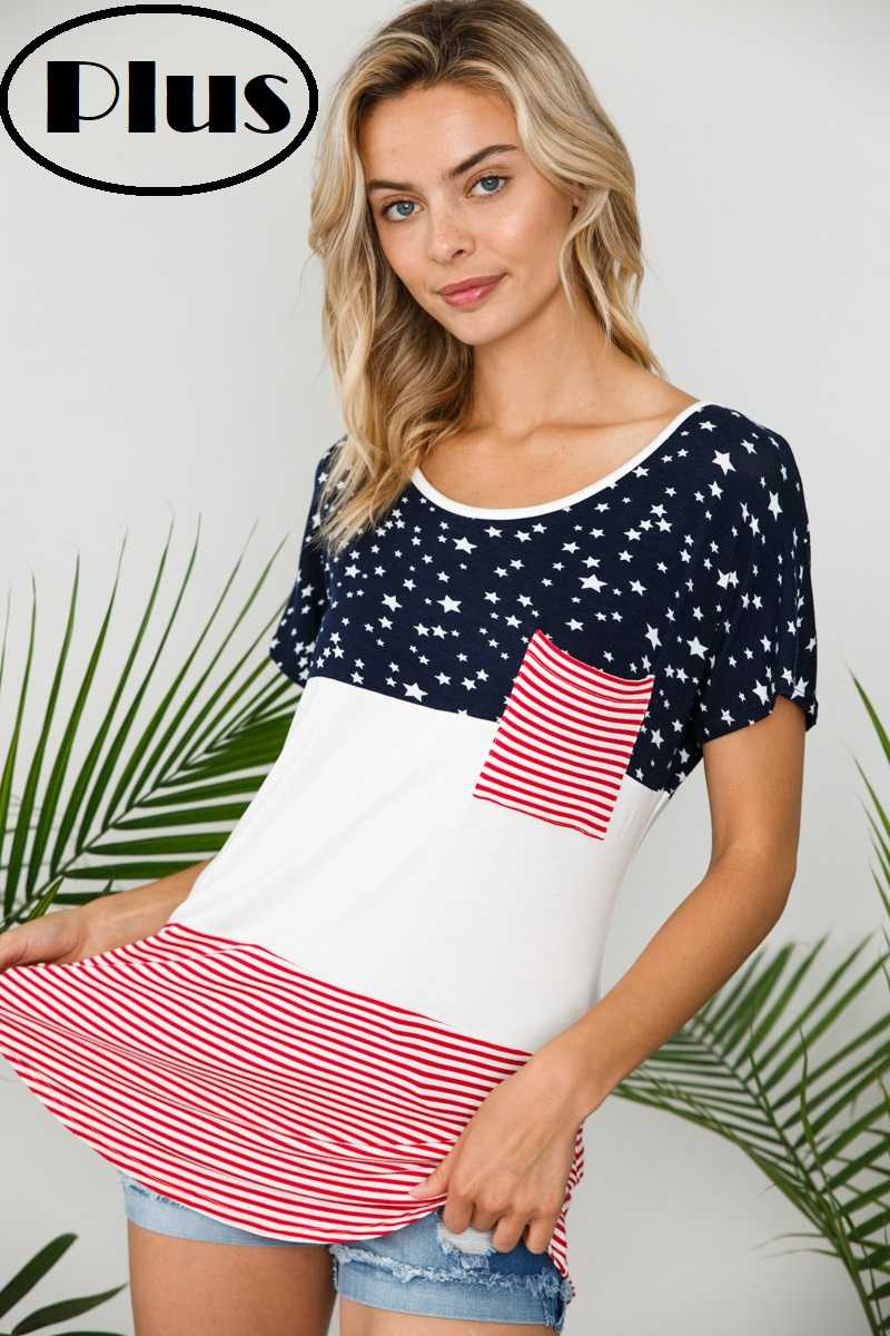 PLUS SIZE AMERICAN FLAG CONTRAST TUNIC TOP