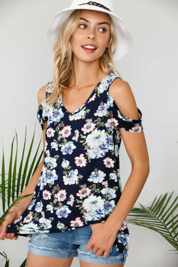 COLD SHOULDER FLORAL PRINT TUNIC TOP