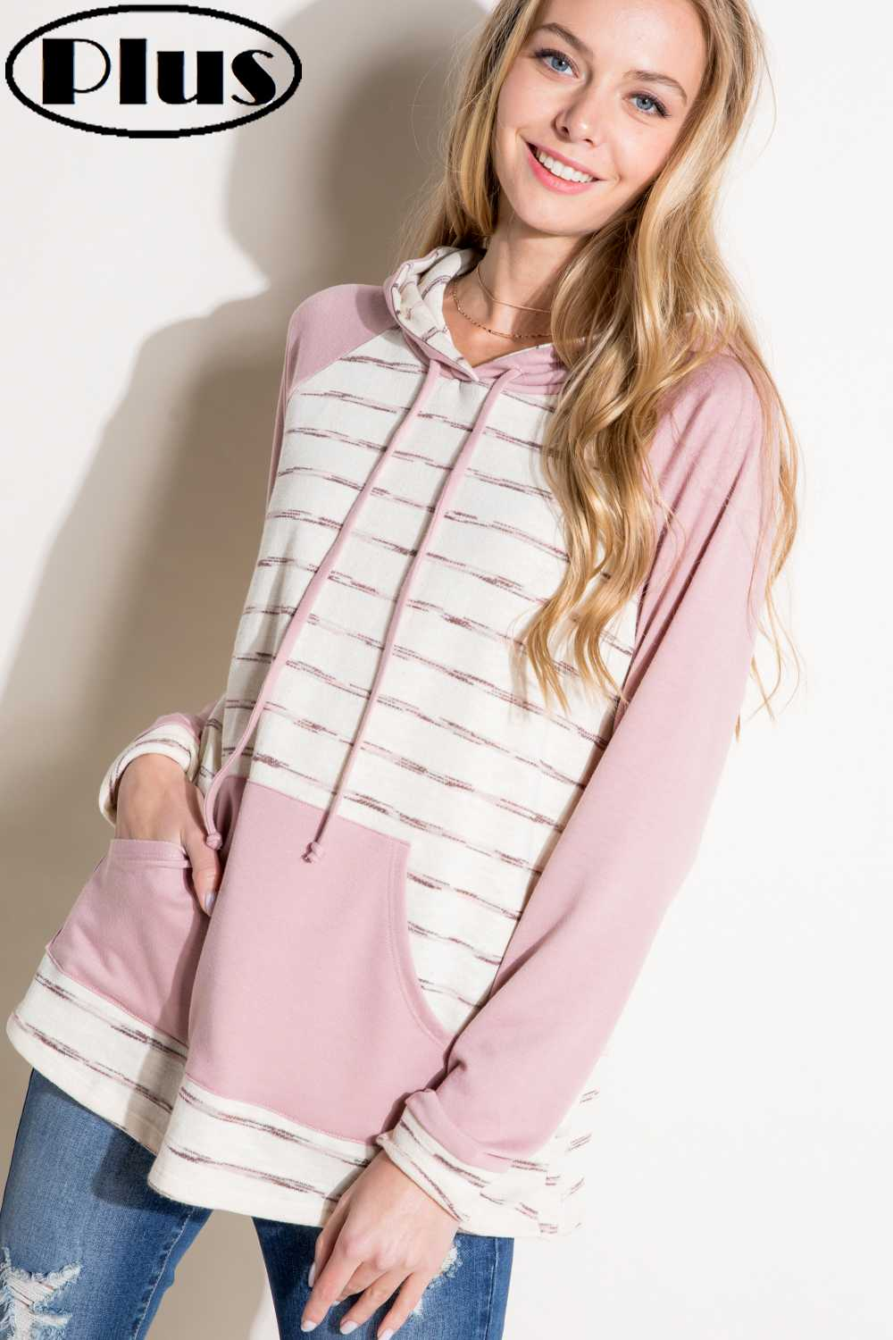 PLUS SIZE STRIPED DETAILED HOODIE TOP