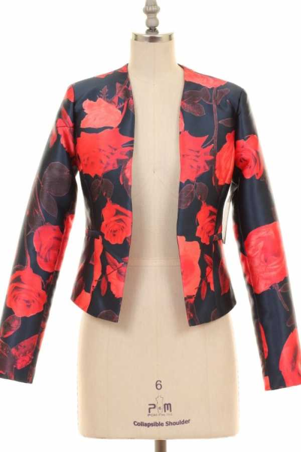 FLORAL PRINT WOVEN BLAZER WITH LINING