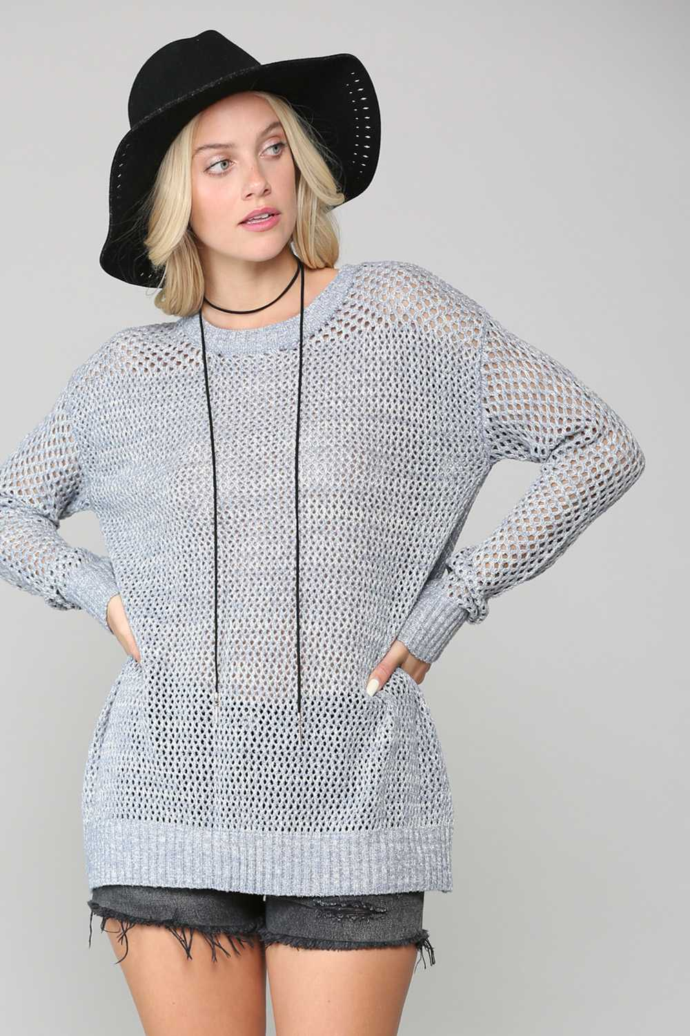 FISHNET KNIT TUNIC TOP