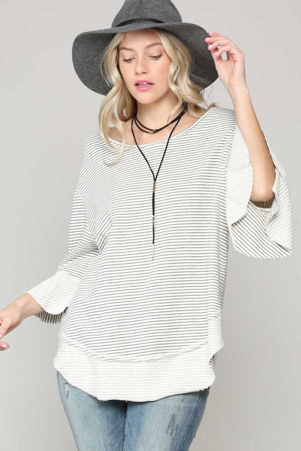 STRIPE PRINT RUFFLE SLEEVE TUNIC TOP