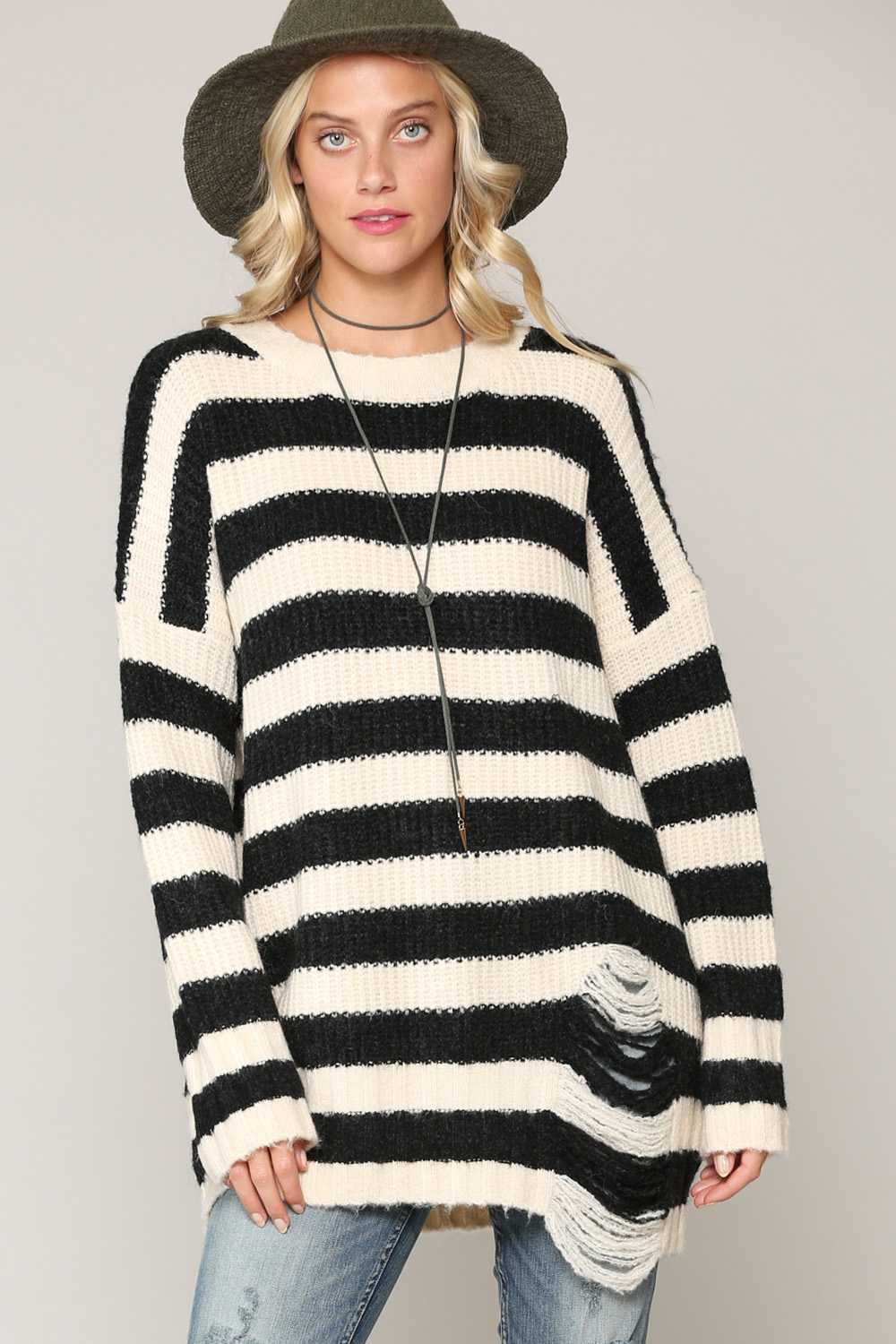 STRIPED DISTRESSED DETAILED KNIT TOP