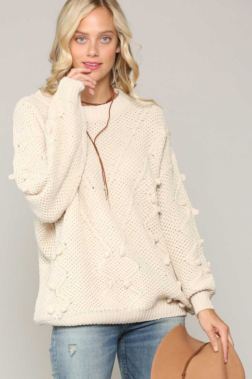 SOLID PRINT KNIT SWEATER TOP