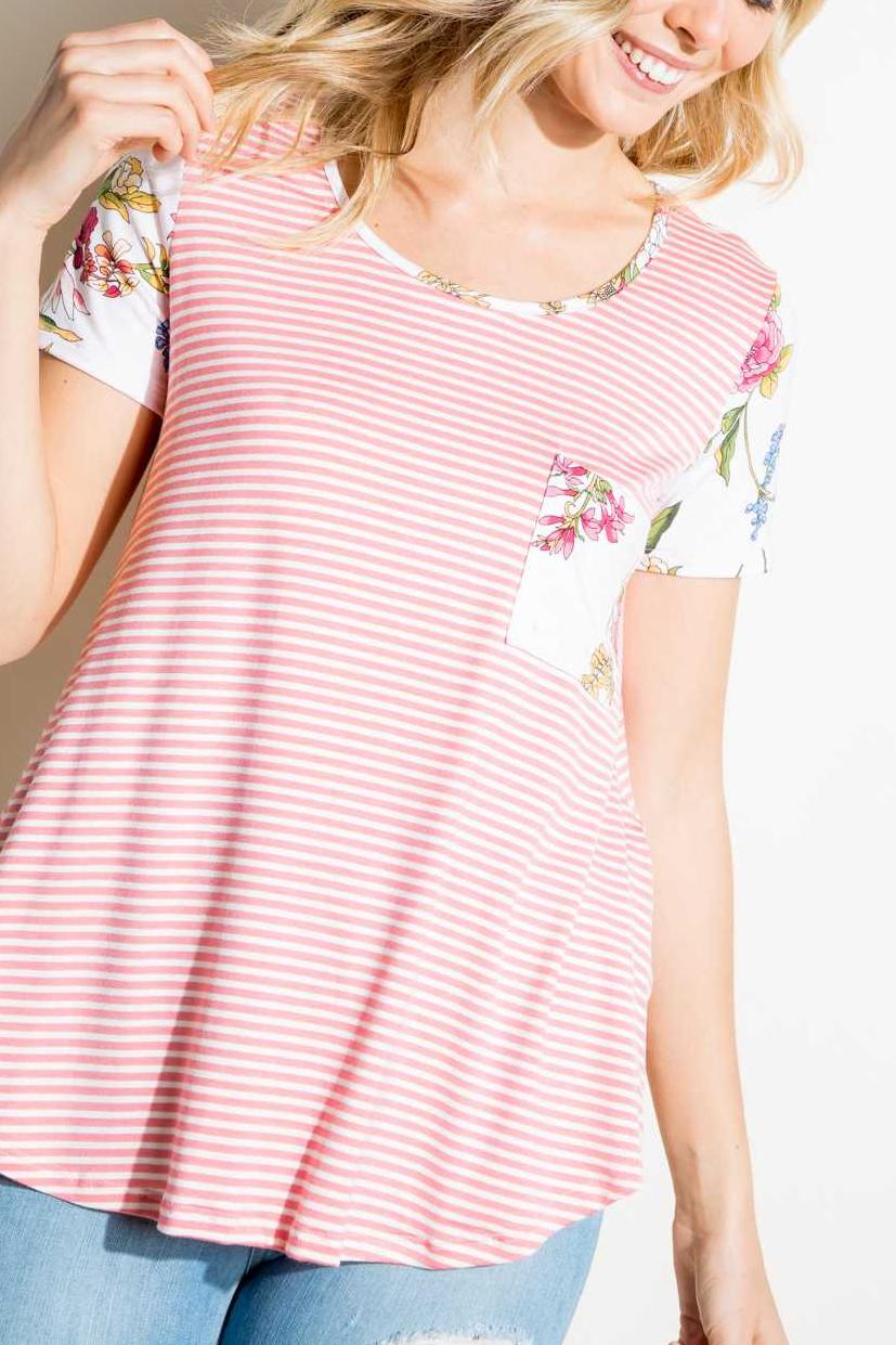 STRIPE PRINT POCKET FLORAL CONTRAST TUNIC TOP