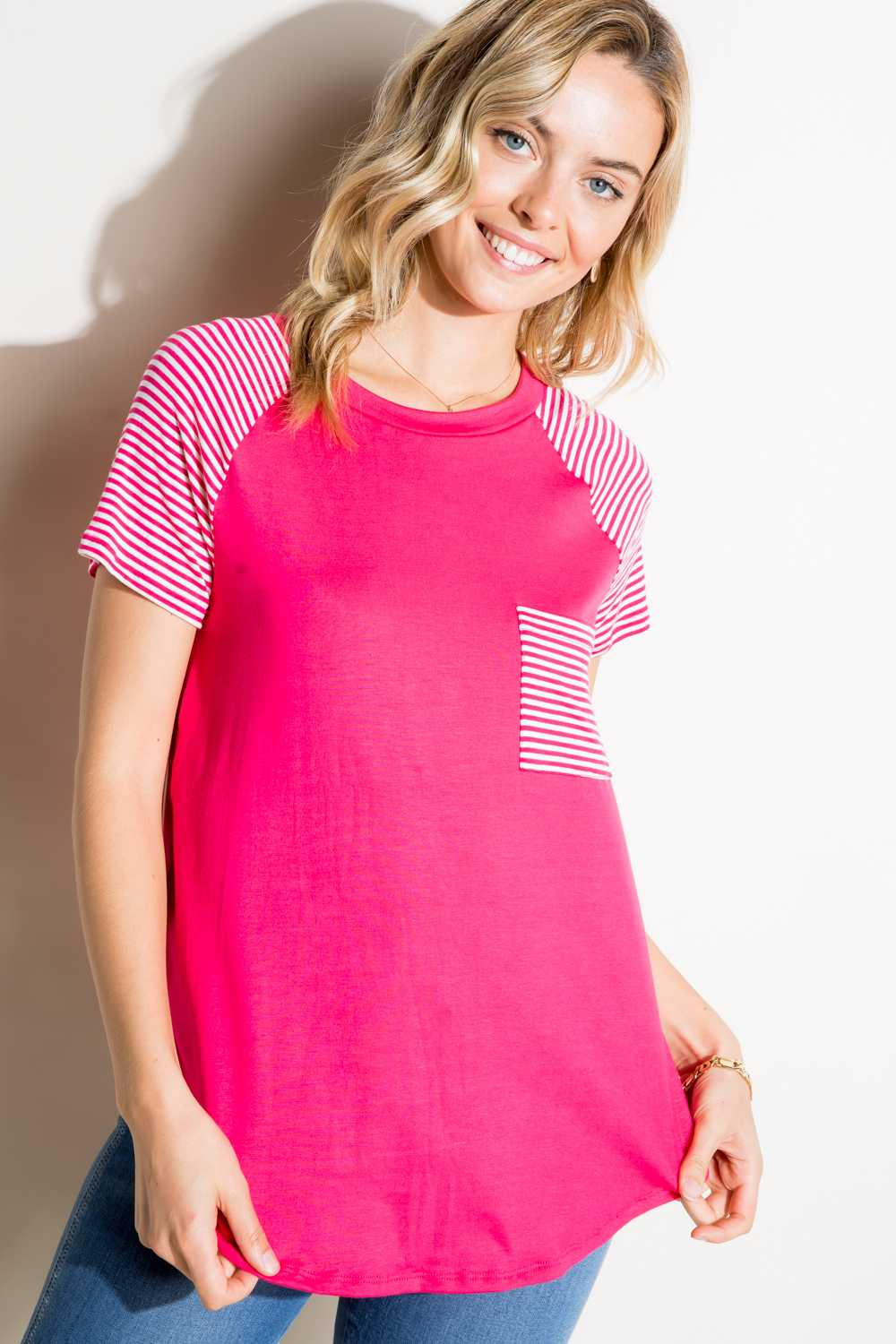 STRIPED CONTRAST POCKET TUNIC TOP