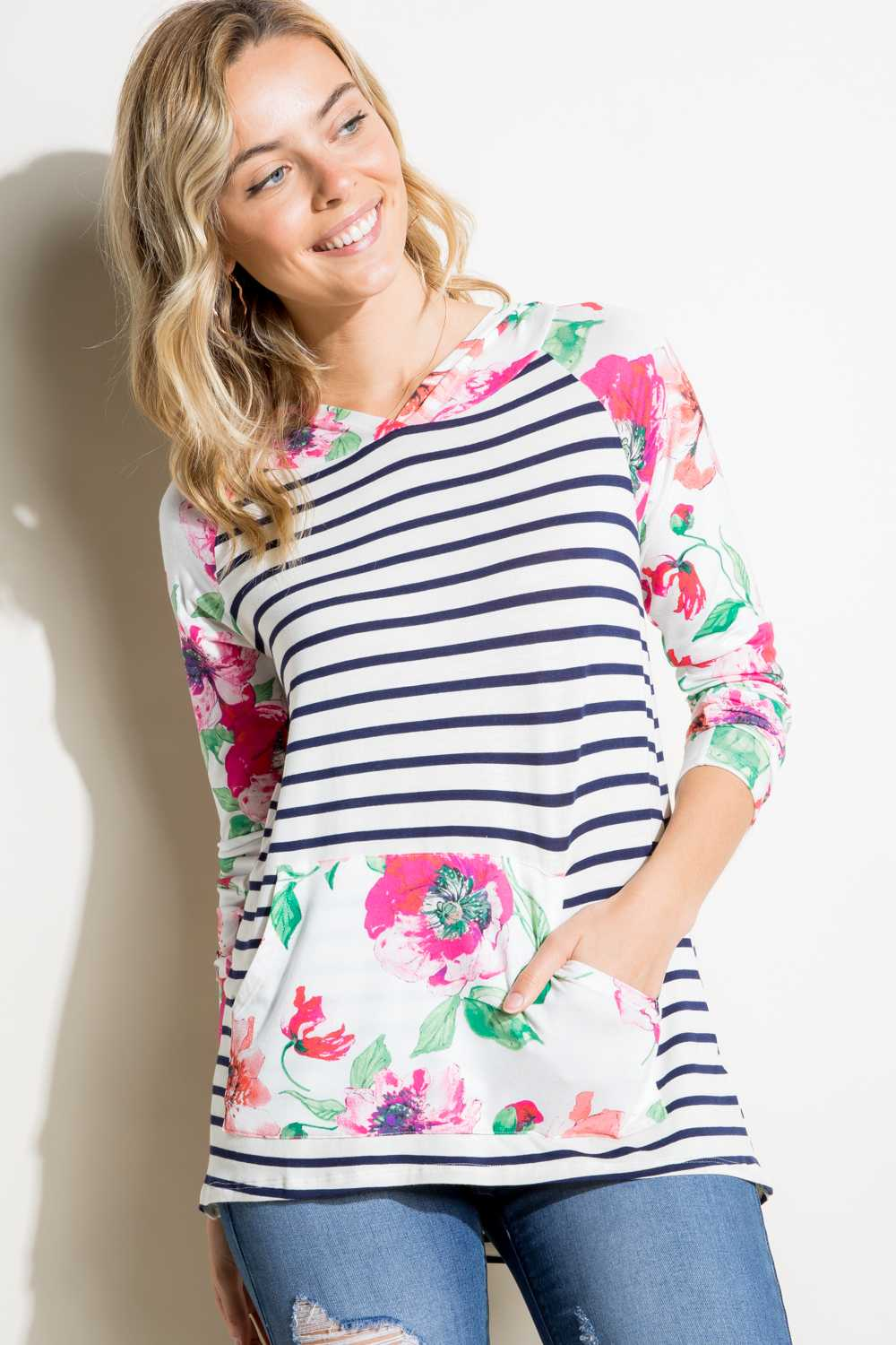 STRIPED FLORAL PRINT HOODED TOP WITH POUCH