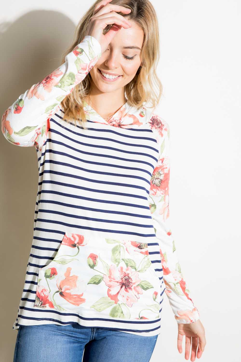 PLUS SIZE STRIPED FLORAL PRINT HOODED TOP WITH POUCH