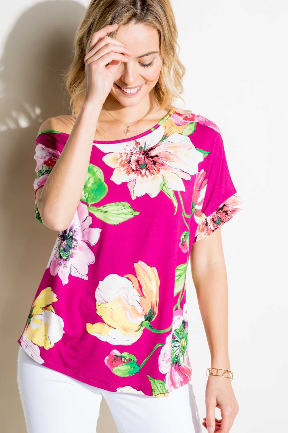 OFF SHOULDER FLORAL PRINT TUNIC TOP