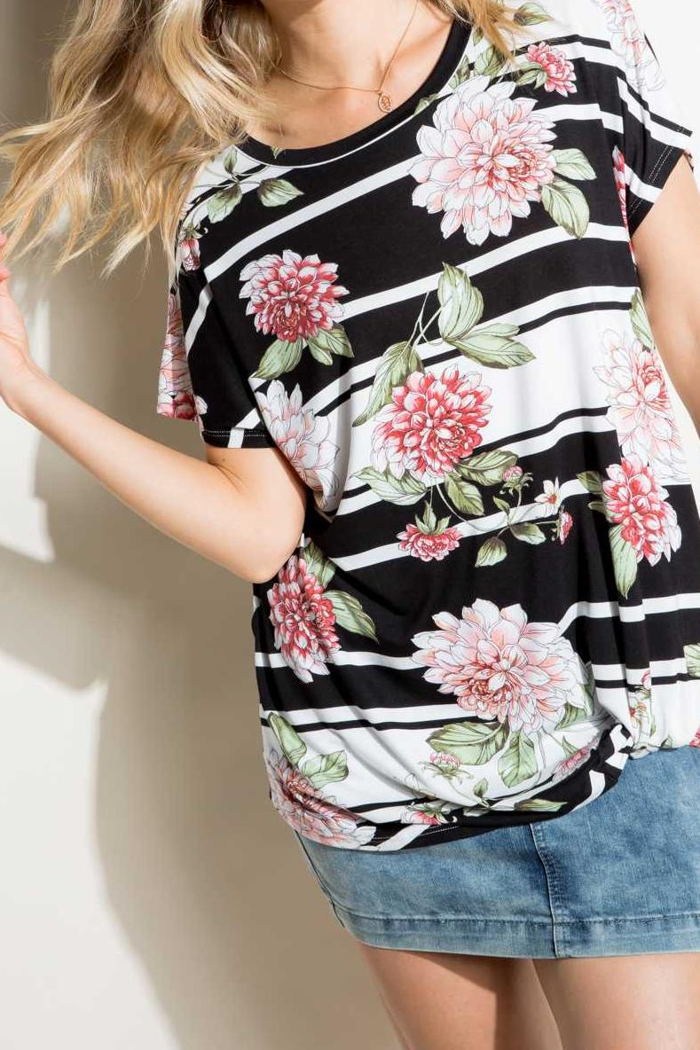 TWISTED HEM FLORAL STRIPE PRINT TUNIC TOP