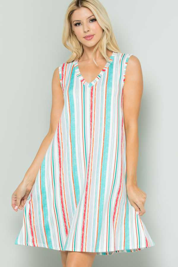 STRIPED SLEEVELESS DRESS WITH POCKETS