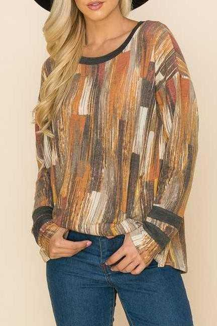 LONG SLEEVE CONTRAST TUNIC TOP
