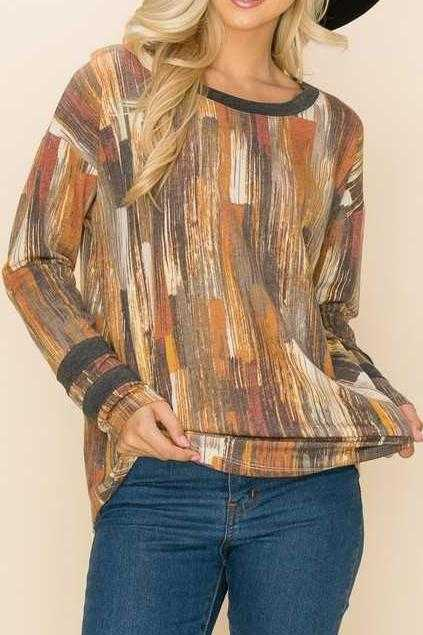 PLUS SIZE-LONG SLEEVE CONTRAST TUNIC TOP