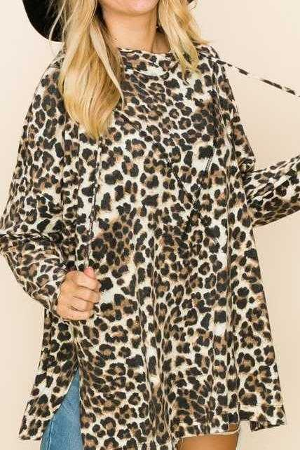 LOOSE FIT ANIMAL HOODIE TUNIC TOP