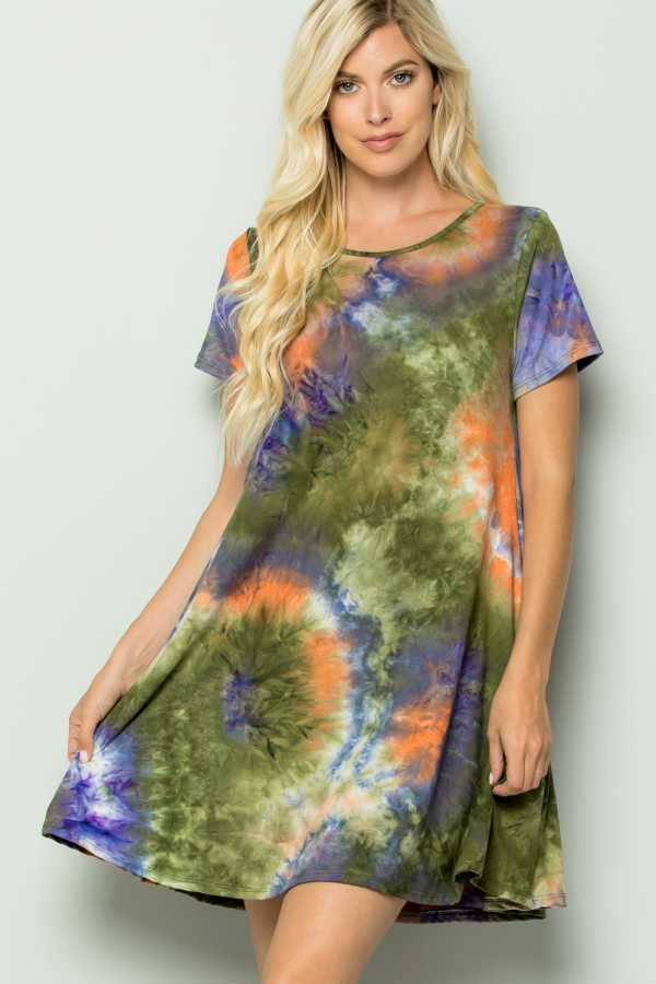 PLUS SIZE TIE DYE DRESS WITH POCKETS