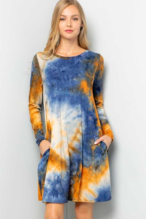 PLUS SIZE LONG SLEEVE TIE DYE DRESS W POCKETS