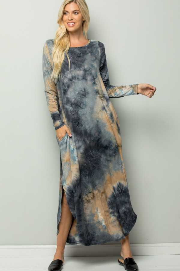 PLUS SIZE TIE DYE LONG SLEEVE MAXI DRESS WITH POCKETS