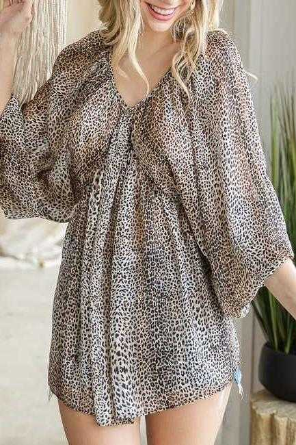 WIDE SLEEVE WOVEN TUNIC TOP