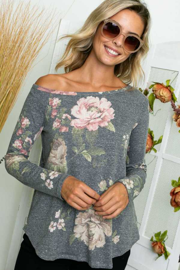 FLORAL PRINT ONE SHOULDER TUNIC TOP