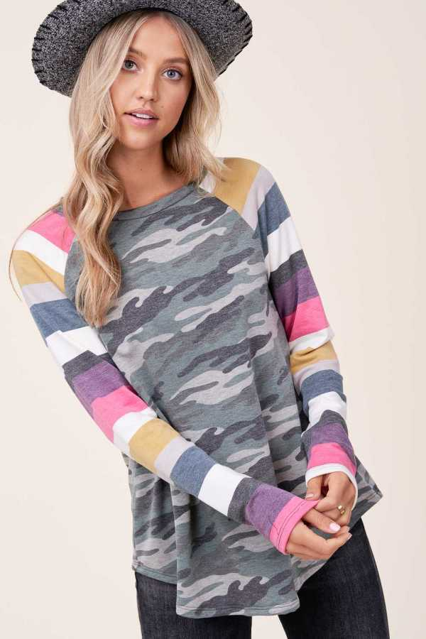 CAMOUFLAGE & STRIPE PRINT LONG SLEEVE DETAIL TOP