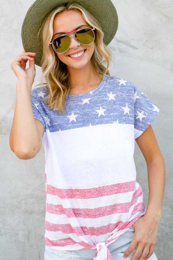 AMERICAN FLAG PRINT FRONT TIE BOTTOM TOP