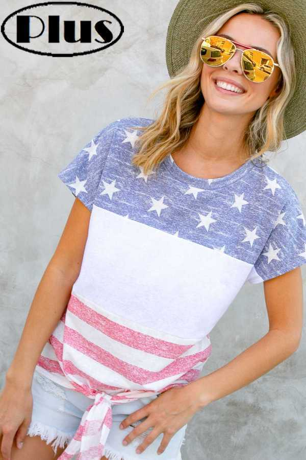 PLUS SIZE-AMERICAN FLAG PRINT FRONT TIE BOTTOM TOP