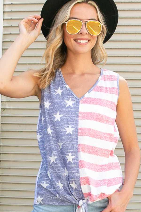 AMERICAN FLAG FRONT TIE BOTTOM V NECK TOP