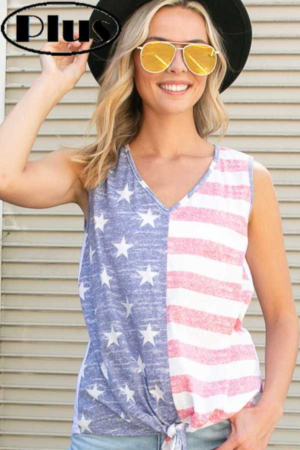 PLUS SIZE-AMERICAN FLAG FRONT TIE BOTTOM V NECK TOP