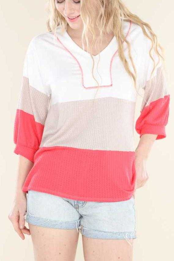 PLUS SIZE-3/4 SLEEVE COLOR BLOCK TUNIC TOP