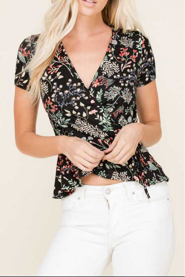 FLORAL PRINT WRAPPED DETAILED BABYDOLL TOP