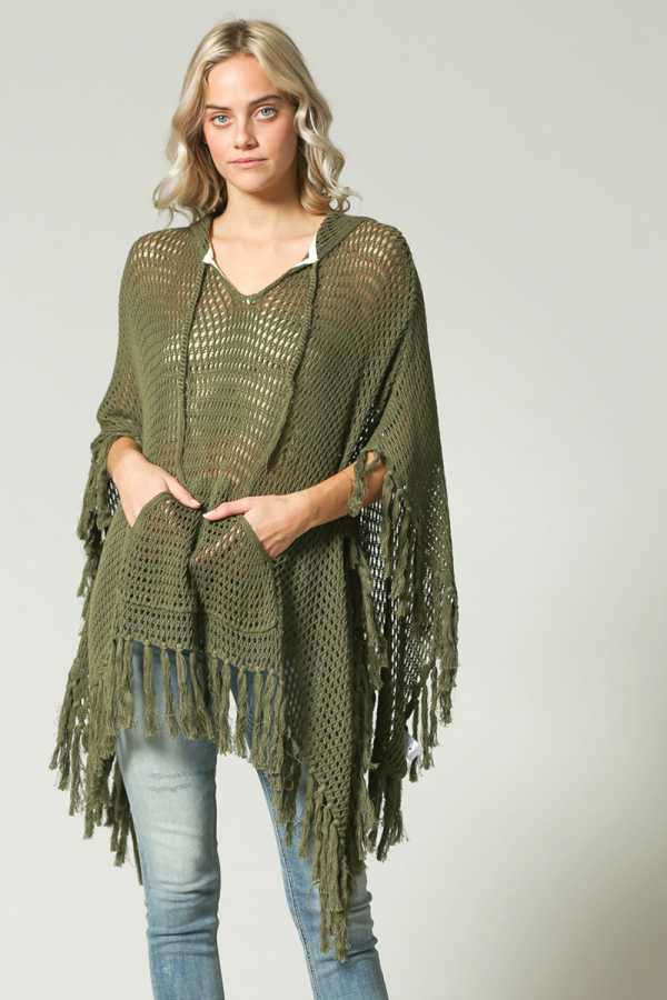 FRINGE HEM HOODED KNIT PONCHO WITH POCKETS