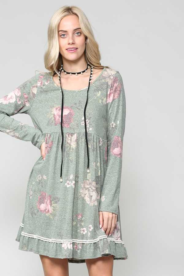 ROUND NECK FLORAL PRINT DETAILED DRESS