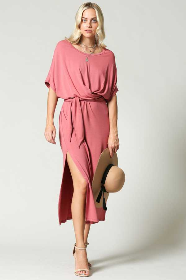 SLIT SIDE DRAPED DRESS