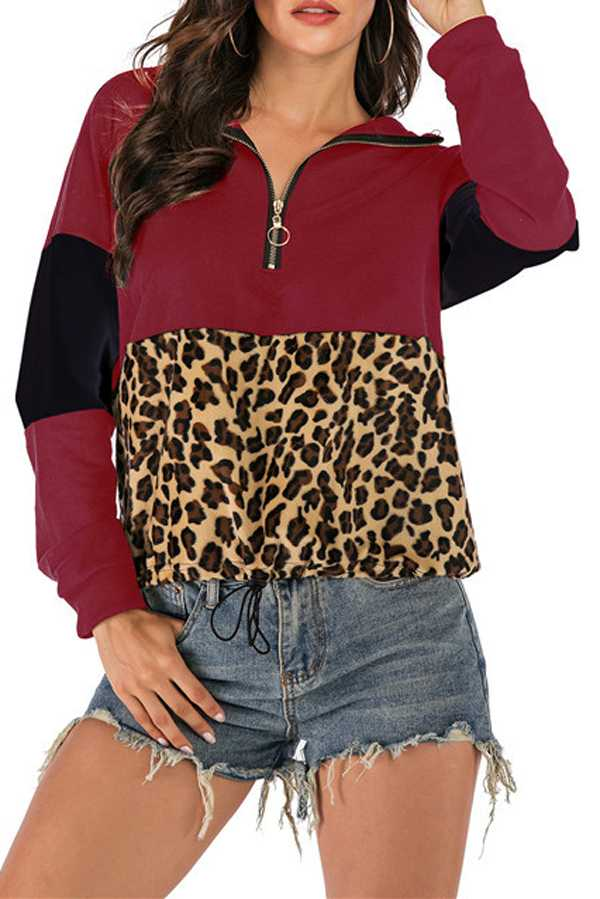 12/12 PRE ORDER LEOPARD PRINT COLOR BLOCK HALF ZIP TOP