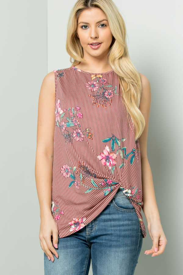 PLUS SIZE KNOTTED HEM STRIPED FLORAL PRINT TUNIC TOP