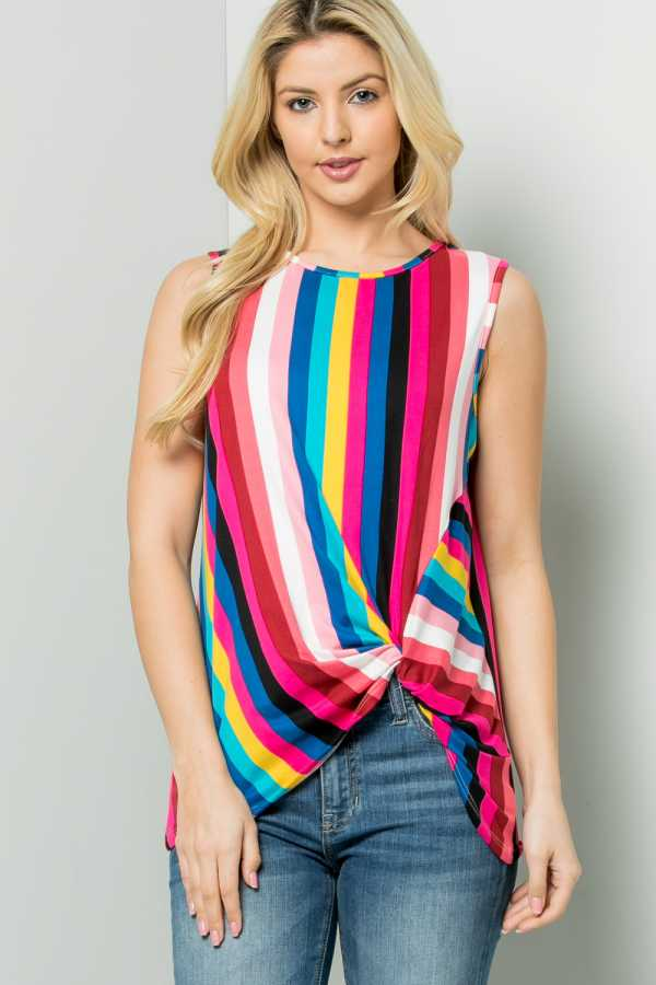 KNOTTED HEM MULTI STRIPED SLEEVELESS TUNIC TOP
