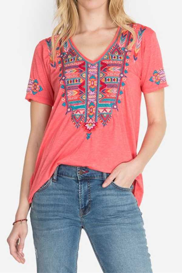 JULY 7 PRE ORDER EMBROIDERY DETAIL TUNIC TOP