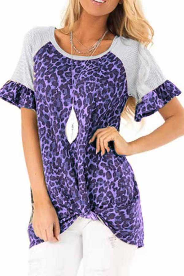 FEB 28 PRE ORDER LEOPARD CONTRAST KNOTTED TUNIC TOP