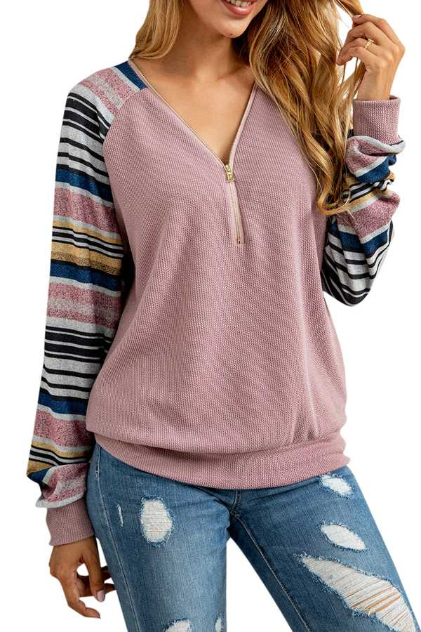 12/12 PRE ORDER STRIPED HALF ZIP RIBBED TOP