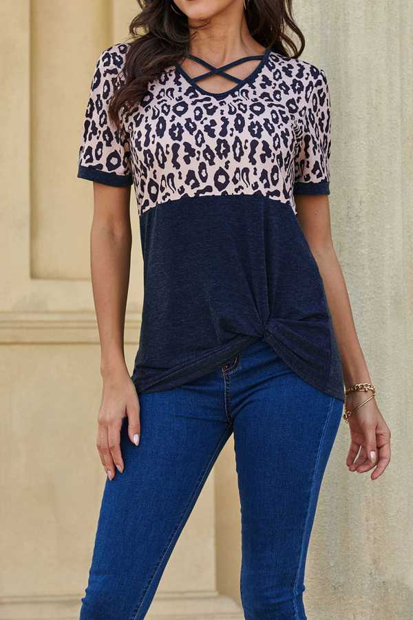 JULY 7 PRE ORDER CRISS CROSS DETAIL CONTRAST TUNIC TOP