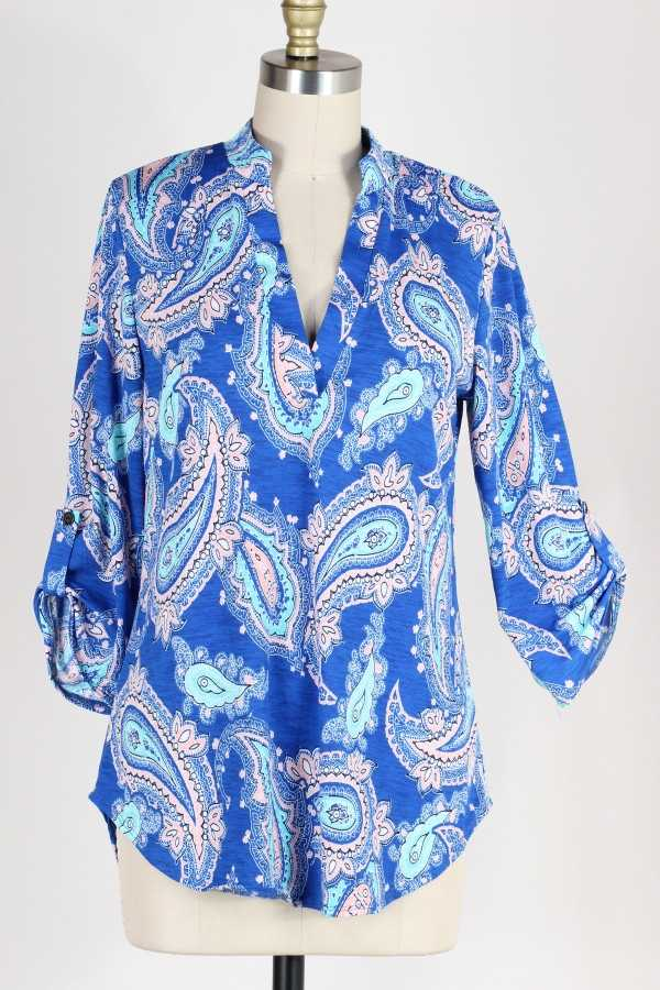 PLUS SIZE-ROLL TAB SLEEVE PAISLEY TUNIC TOP