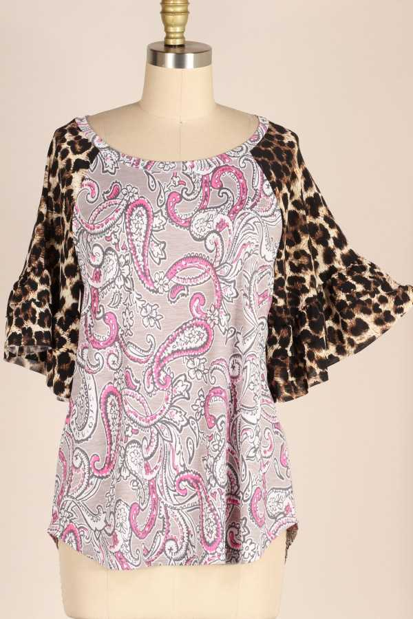 PLUS SIZE-LEOPARD BELL SLEEVE PAISLEY TUNIC TOP