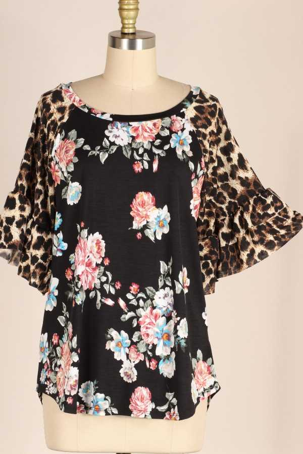 PLUS SIZE-LEOPARD BELL SLEEVE FLORAL TUNIC TOP