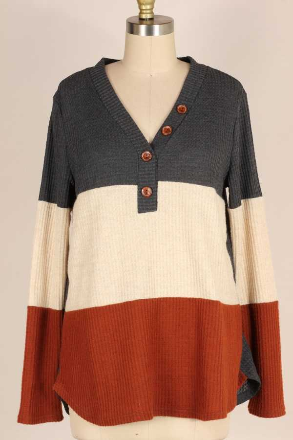 COLOR BLOCK KNIT TUNIC TOP