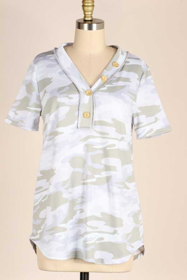 PLUS SIZE-BUTTON DETAIL CAMOUFLAGE TUNIC TOP