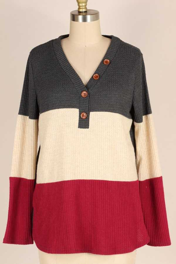 PLUS SIZE-COLOR BLOCK KNIT TUNIC TOP