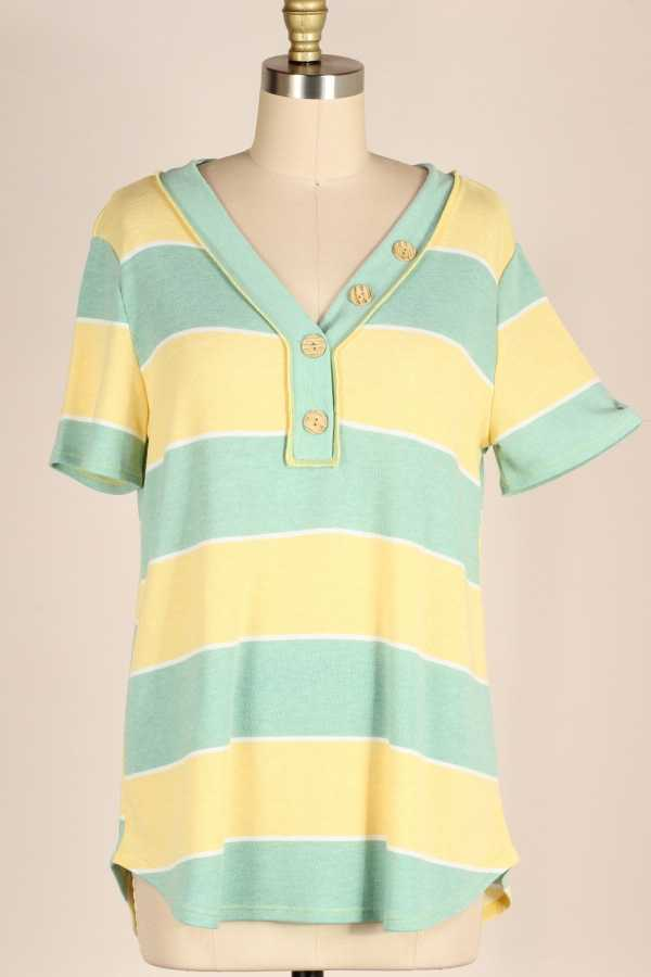 BUTTON DETAIL STRIPE TUNIC TOP